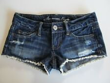 AMERICAN EAGLE Jr. Women's Sz 00 Dark Blue Denim Jean Shorts Cream Lace Trim EUC