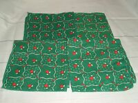 Vtg Christmas Cloth Napkins Set of 4 Red and Green Holly Hearts-love wedding