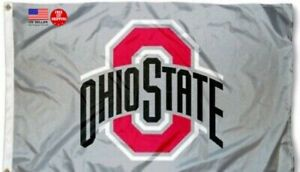 Ohio State Buckeyes Flag Gray Large 3'X5' Grey Free Shipping The Ohio State New