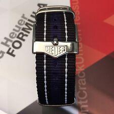 20mm TAG HEUER Fibbia & Cinturino Nato ® Nero Blu a Righe