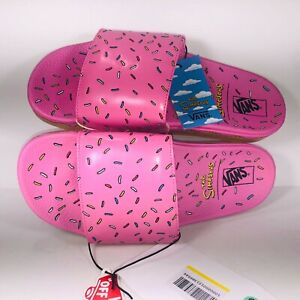 VANS The Simpson's Slide On Pink Multicolored D'ohnuts Slippers Mens Size 9