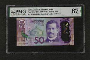 2016 New Zealand Reserve Bank 50 Dollars Pick#194a PMG 67 EPQ Superb Gem UNC