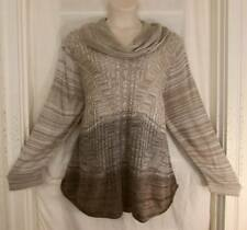 Avenue $55 Dip Dye Ombre Beige Grey Hummus Cowl LONGER Sweater 4X 26/28 NWT