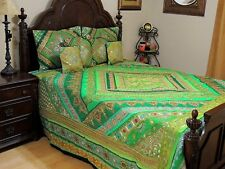 Green Indian Inspired Bedding Set - Sari Quilted Duvet Pillow Shams ~ King