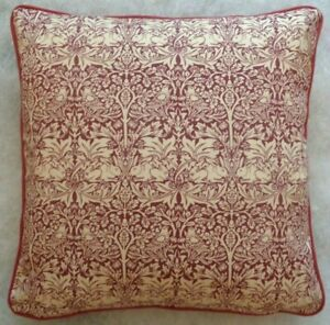 """BRER RABBIT RED BY WILLIAM MORRIS 18"""" CUSHION COVER STUNNING DESIGN 100% COTTON"""