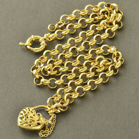 22'' Womens Fashion Yellow Gold Plated Heart Pendant Love Chain Necklace