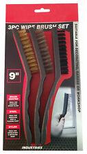 "Dekton 9"" Wire Brush Set Brass Coated Steel Nylon Rust Spark Plugs Upholstery"