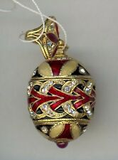 Russian Fabergesilver egg Pendant red arrows w/ciras of w/gold decor & stones.