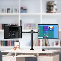 UNHO Dual VESA Monitor Arm Stand Desk Mount LCD LED TV Display 2 Twin Screens
