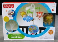 FISHER PRICE Twinkling LIGHTS PROJECTION Infant Baby Bed Crib Musical Mobile NEW