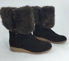 Suede Boots LANDS END Mendota Brown Faux Fur Womens Size 6