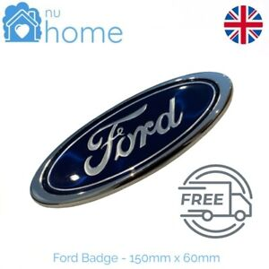 Ford Badge Oval blue/Chrome 150mm x 60mm Front or Rear Emblem Focus Mondeo Trans