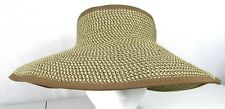 Scala Collezione Womens Straw Tweed Adjustable Sun Shade Hat Visor NEW WITH TAGS