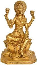 "JAI Golden Lakshmi Bless On Lotus 10"" Brass Statue Figure Hindu India Sale 4 KG"
