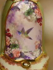 """Porcelain Bell Lena Liu Artist Hummingbird Green Flowers 4"""" Tall"""