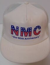Vintage 1990s Nmc 80th Red White Blue Usa Flag Snapback Trucker Hat Made in Usa