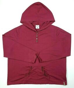 Columbia Womens 1X Long Sleeve Pullover Button Hoodie Sweater Maroon Purple Lace