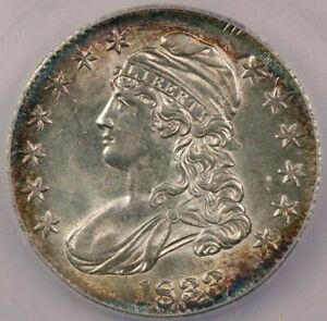 1833 Capped Bust Half Dollar ICG MS63+ Beautifully toned and SO FLASHY! WOW!