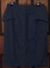 Near New Cue Blue & Black Check Peplum Skirt - 10