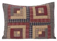 MILLSBORO Log Cabin Quilted Std Pillow Sham Primitive Patch Burgundy VHC Brands