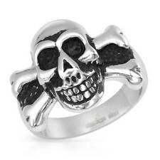 Charming  Gentlemens Skull & Bones Ring in two tone Stainless steel