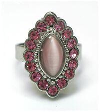 Neu RING mit STRASSSTEINE & CAT EYE in rosa/hellrosa GRÖßENVERSTELLBAR Damenring