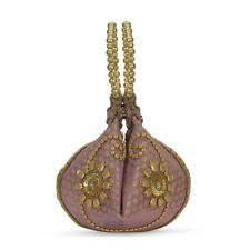 Mauve Embroidered Potli Fortune Cookie Bag (6.5)
