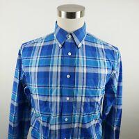 Jos A Bank Mens Traveler Tailored Fit LS Button Down Blue Plaid Dress Shirt M