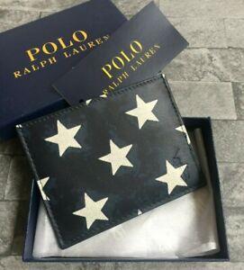 POLO RALPH LAUREN NAVY BLUE LEATHER STAR PRINT & LOGO CARD HOLDER BNIB