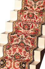 CASA delle Bambole Scala In Tessuto Tappeto Runner Crema Rosso pavimentazione in miniatura
