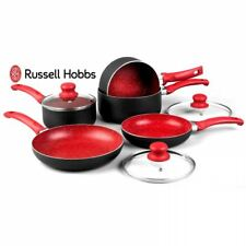 RUSSELL HOBBS 8 PIECE RED NON STICK INDUCTION STONE PAN SET SAUCEPAN FRYING PAN