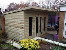 14x8' Wooden Treated Pent Roof Timber Garden Workshop Shed Ultimate Tantalised