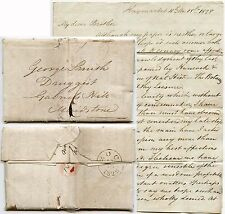 GB 1828 LETTER DRUGGIST QUAKER GABRIELS HILL MAIDSTONE + HOWE TRAVELS in AMERICA