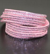 Slake Crystal Wrap Bracelet made w/ Swarovski Crystal Pink Alcantara ® Leather