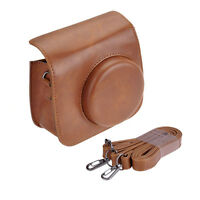 Leather Case Shoulder Bag For Fujifilm Fuji Instax Mini 8 Camera Polaroid Brown