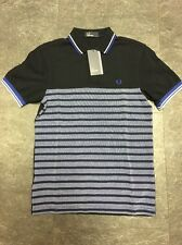 Fred Perry Polo Shirt Blue Stripe Size Small BNWT RRP £65