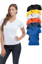 Hanes Sin Etiqueta Liso Algodón Orgánico Mujer cuello en V pico Camiseta
