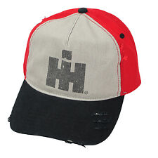 INTERNATIONAL HARVESTER *TAN RED & BLACK HIGH CROWN* LOGO Hat Cap NEW! IH136