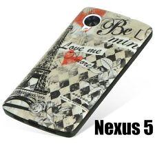 For LG Google Nexus 5 D820 - HARD GUMMY RUBBER SKIN CASE PARIS EIFFEL TOWER LOVE