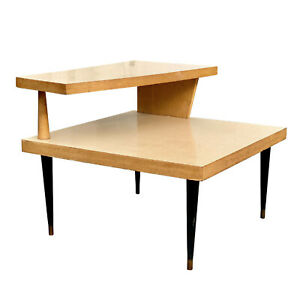 Mid-Century Modern Atomic Blonde 2 Tier End Square End Table