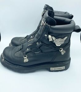 Harley-Davidson Mens Black Leather Motorcycle Boots D91680 Size 10.5