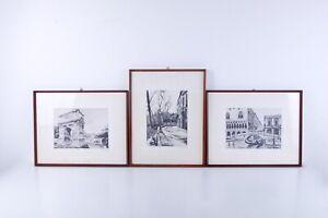 Tre serigrafie in china su seta (Roma, Parigi, Venezia)di Giuseppe Mario D'amico