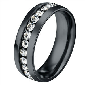 Black Stainless Steel Mens Ring Band Ring Crystal Man Jewelry HipHop Punk Size 9