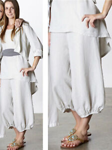 Bryn Walker Women's Size L Light Linen Crop Bell Pants White Lagenlook Pull On