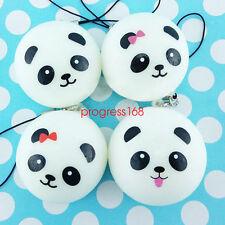 4PCS 4CM Soft Cute Panda Squishy Kawaii Buns Bread Charms Cell Phone Bag Straps