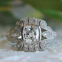 Jahrgang Art Deco Verlobung Ring 2.30 Karat Kissen Diamant Weißes Gold Finish
