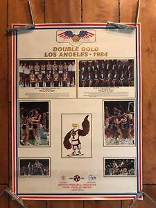 1984 OLYMPIC POSTER CHICAGO BULLS MICHAEL JORDAN DOUBLE GOLD MEDAL ORIGINAL RARE