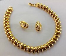 Vintage NAPIER Choker and pierced Earrings Sold as a Set-Gold-Tone Swirl Links