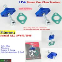 2x Motorcycle Manual Cam Chain Tensioner Adjuster Blue For Suzuki All SV650/650S
