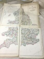 Antique Map of England and Wales Old Hand Coloured 19th Century LARGE Maps